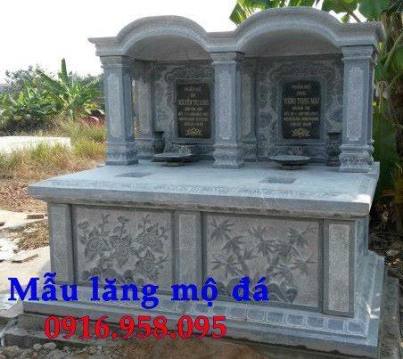 Mẫu mộ đá đôi đẹp làm từ đá xanh