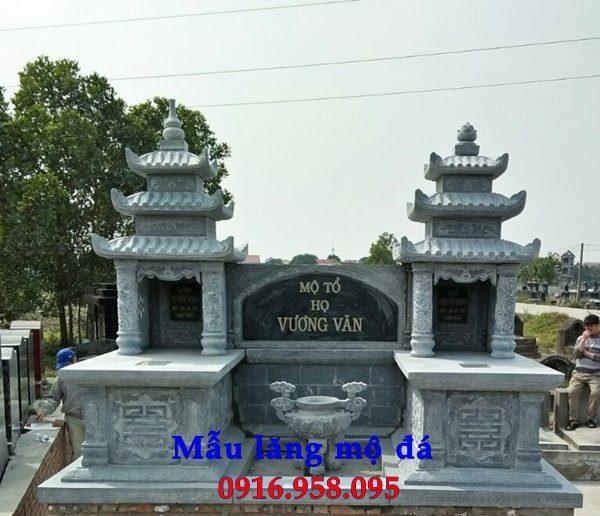 Mẫu mộ đá xanh ba mái nguyên khối