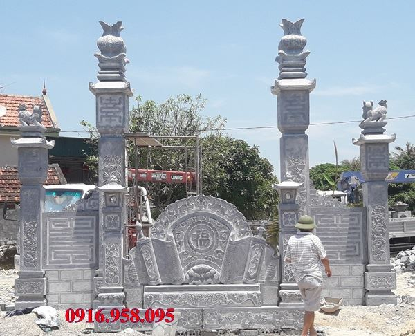Mẫu cổng đình đẹp bằng đá lắp ở Hải Dương