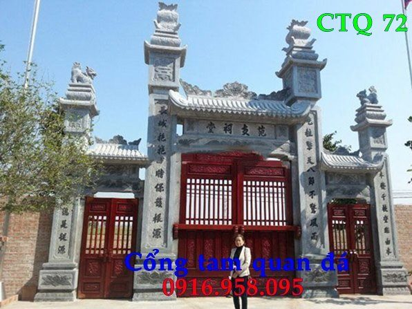 Mẫu cổng chùa đẹp bằng đá lắp ở Bắc Ninh
