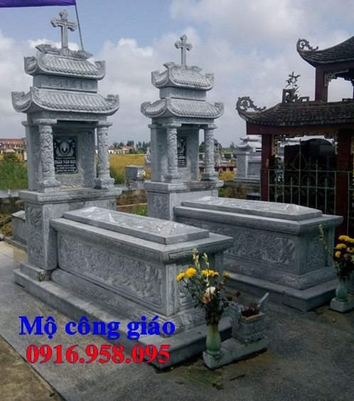 Mẫu mộ đá công giáo đẹp lắp ở Nam Định