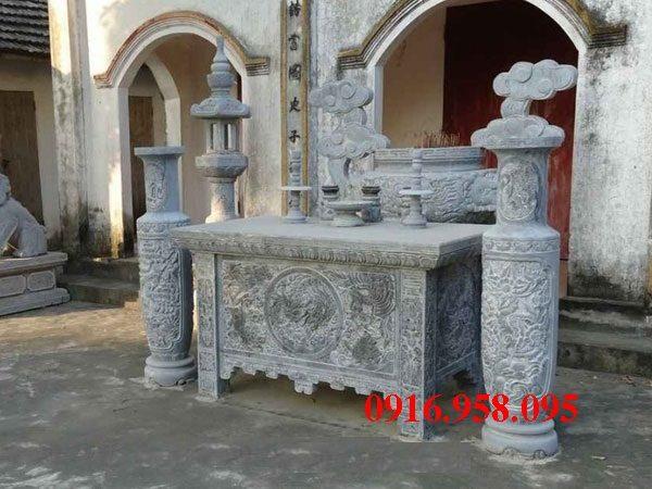 Bàn lễ đá đẹp lắp đặt tại đình đền chù