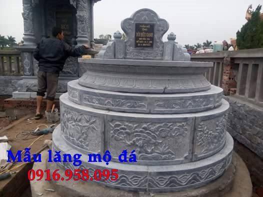Mẫu mộ đá tròn làm từ đá xanh ninh bình