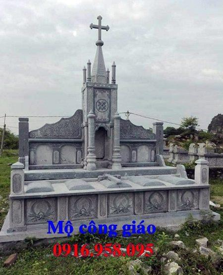 Mẫu lăng mộ đá đôi công giáo bằng đá đẹp 04