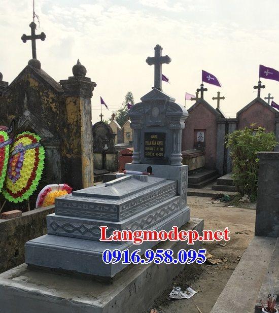 Mẫu lăng mộ đá đôi công giáo bằng đá đẹp 24