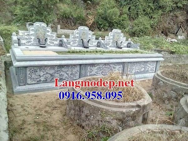 Mẫu mộ ba bốn ngôi liền nhau bằng đá đẹp 04