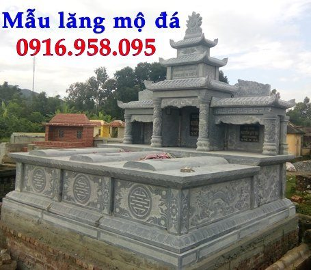 Mẫu mộ ba bốn ngôi liền nhau bằng đá đẹp 09