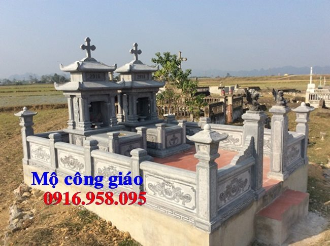 Mẫu mộ công giáo đẹp xây bằng đá xanh
