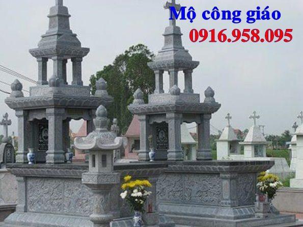Mẫu mộ công giáo đẹp xây bằng đá xanh 02