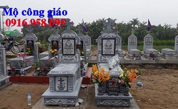 Mẫu mộ công giáo đẹp xây bằng đá xanh 03