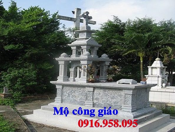 Mẫu mộ công giáo đẹp xây bằng đá xanh 04