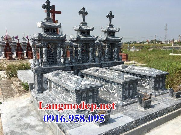 Mẫu mộ công giáo đẹp xây bằng đá xanh 06
