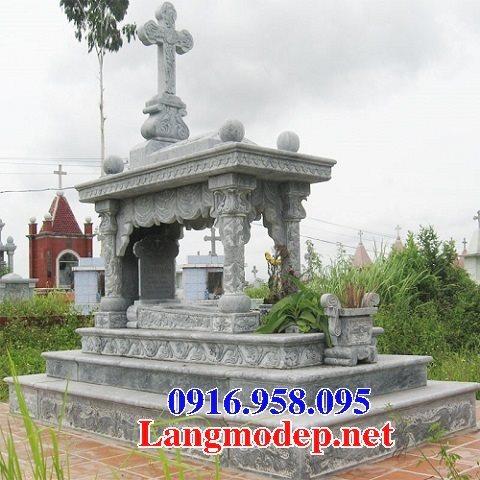 Mẫu mộ công giáo đẹp xây bằng đá xanh 07
