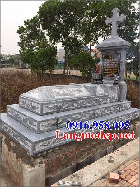 Mẫu mộ công giáo đẹp xây bằng đá xanh 08