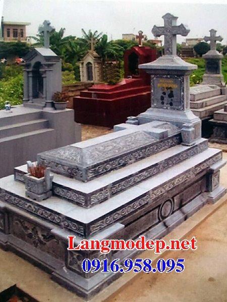 Mẫu mộ công giáo đẹp xây bằng đá xanh 09