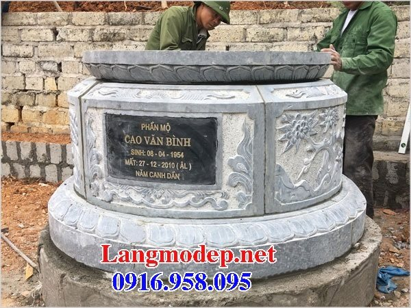 Xây mộ hình tròn đẹp bằng đá xanh tự nhiên 03