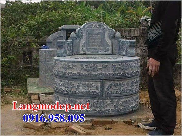 Xây mộ hình tròn đẹp bằng đá xanh tự nhiên 04