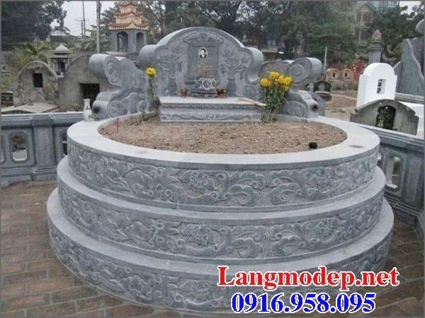 Xây mộ hình tròn đẹp bằng đá xanh tự nhiên 06