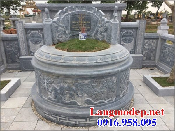 Xây mộ hình tròn đẹp bằng đá xanh tự nhiên 08