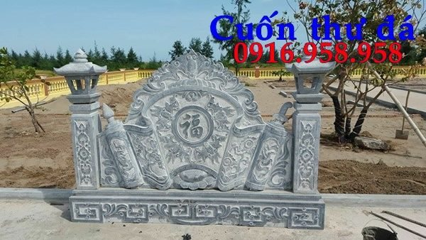 Bức bình phong lăng mộ dòng họ gia tộc bằng đá đẹp nhất hiện nay thiết kế hiện đại 04