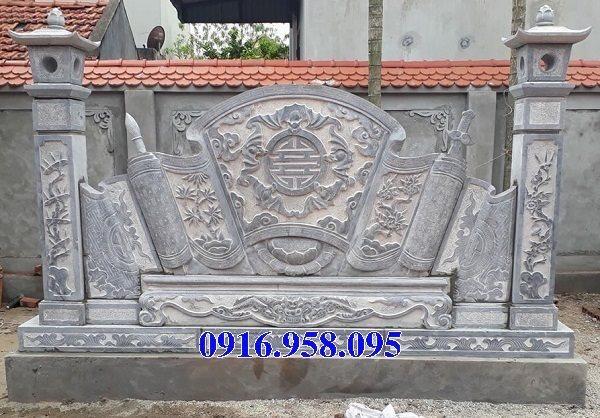 Mẫu bức bình phong đá cổng nhà thờ gia tiên đẹp nhất hiện nay 02