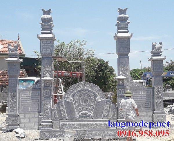 Mẫu bức bình phong đá cổng nhà thờ gia tiên đẹp nhất hiện nay thiết kế hiện đại 02
