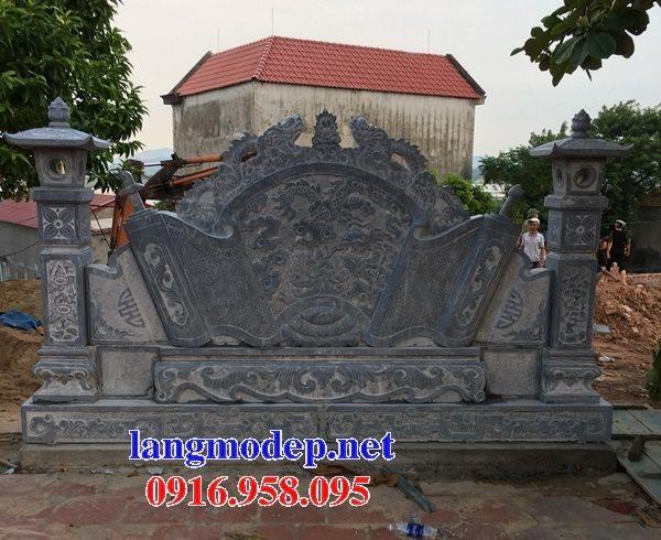 Mẫu bức bình phong đá cổng nhà thờ gia tiên dòng tộc đẹp nhất hiện nay bán toàn quốc 06