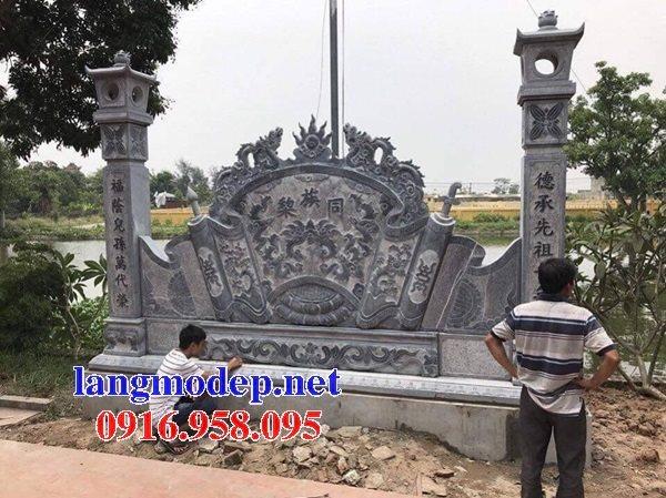 Mẫu bức bình phong đá cổng nhà thờ tổ gia tiên đẹp nhất hiện nay thiết kế hiện đại 08