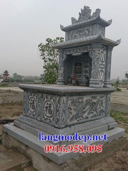 Mẫu lăng mộ đôi gia đình có mái che bằng đá xanh nguyên khối đẹp nhất hiện nay 08