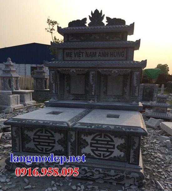 Mẫu lăng mộ đôi gia đình có mái che cất để tro cốt bằng đá đẹp nhất hiện nay 04