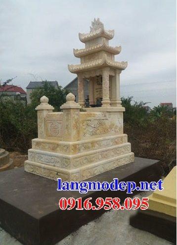 18 Mẫu mộ đá vàng kem ba mái đẹp cất để hài tro cốt