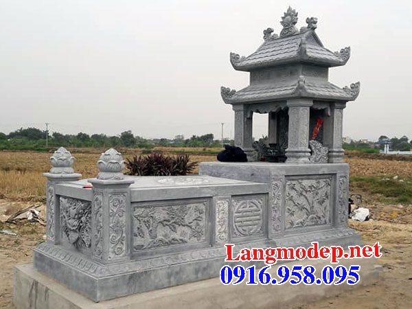 Các kiểu mẫu mộ đá xanh rêu hai mái đẹp bán tại bình định