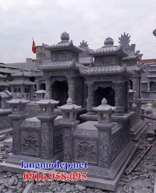 Các kiểu mẫu mộ đá xanh rêu hai mái đẹp bán tại hà tĩnh