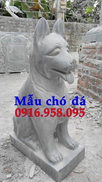 Các mẫu chó phong thủy canh cổng đình chùa nhà thờ họ đẹp bằng đá bán tại hưng yên