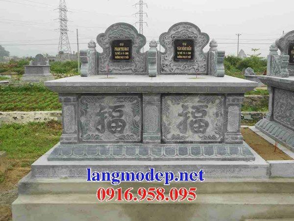 Mẫu mộ đôi xây bằng đá đẹp kích thước chuẩn phong thủy