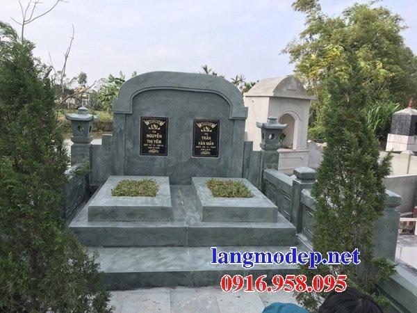 Mẫu mộ đôi xây bằng đá xanh rêu đẹp thiết kế hiện đại