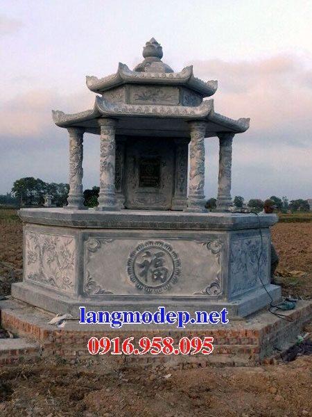 Mẫu mộ lục lăng xây bằng đá tự nhiên nguyên khối đẹp