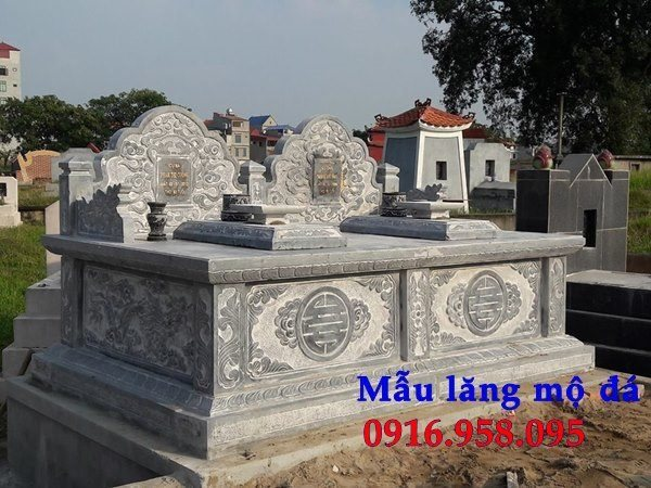 Thiết kế mộ đôi bằng đá đơn giản không mái đẹp