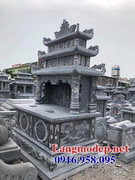Thiết kế mộ đôi bằng đá có mái che đẹp