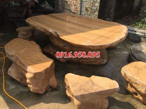 100 Mẫu bộ bàn ghế đá tự nhiên nguyên khối lắp đặt ngoài sân vườn đẹp bán tại đồng nai