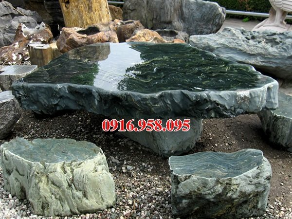 100 Mẫu bộ bàn ghế đá tự nhiên nguyên khối lắp đặt ngoài sân vườn đẹp bán tại bình định