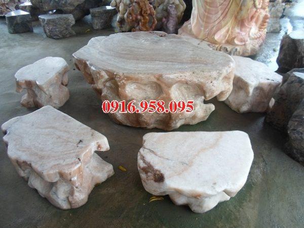 100 Mẫu bộ bàn ghế đá tự nhiên nguyên khối lắp đặt ngoài sân vườn đẹp bán tại bình dương