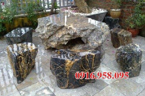 100 Mẫu bộ bàn ghế đá tự nhiên nguyên khối lắp đặt ngoài sân vườn đẹp bán tại bình thuận