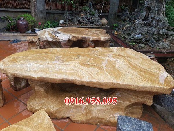100 Mẫu bộ bàn ghế đá tự nhiên nguyên khối lắp đặt ngoài sân vườn đẹp bán tại bắc ninh