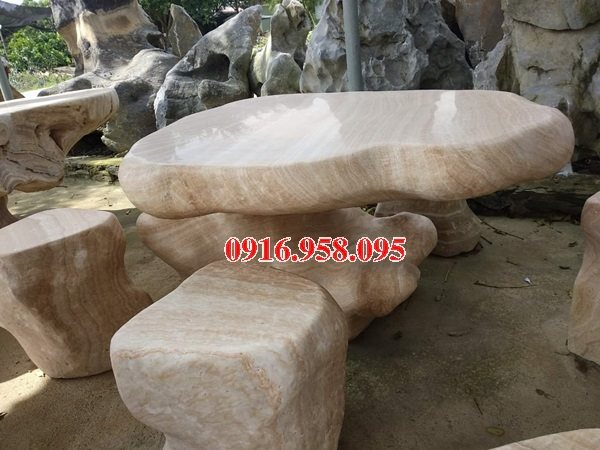 100 Mẫu bộ bàn ghế đá tự nhiên nguyên khối lắp đặt ngoài sân vườn đẹp bán tại hòa bình