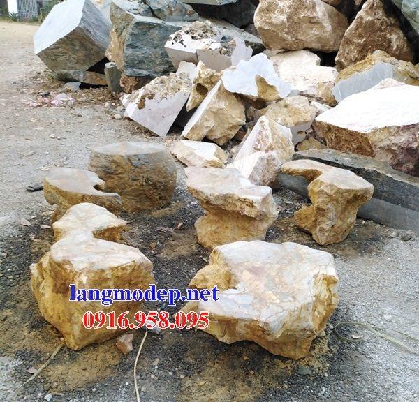 100 Mẫu bộ bàn ghế đá tự nhiên nguyên khối lắp đặt ngoài sân vườn đẹp bán tại long an