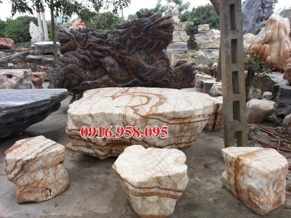 100 Mẫu bộ bàn ghế đá tự nhiên nguyên khối lắp đặt ngoài sân vườn đẹp bán tại nghệ an