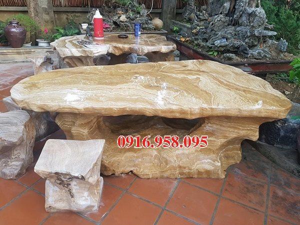 100 Mẫu bộ bàn ghế đá tự nhiên nguyên khối lắp đặt ngoài sân vườn đẹp bán tại quảng ninh
