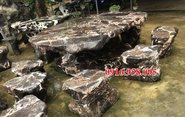 100 Mẫu bộ bàn ghế đá tự nhiên nguyên khối lắp đặt ngoài sân vườn đẹp bán tại thái bình