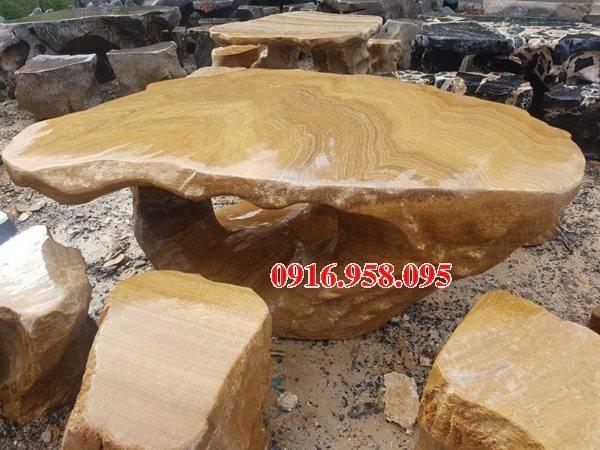 100 Mẫu bộ bàn ghế đá tự nhiên nguyên khối lắp đặt ngoài sân vườn đẹp bán tại thừa thiên huế